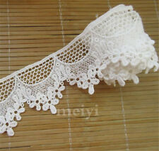 1 yd Vintage White Cotton Crochet Lace Trim Ribbon Costume Applique Sewing Craft