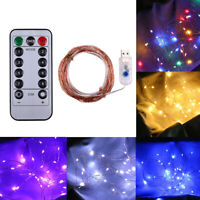 5/10/20M Copper Wire String Fairy Light Strip Lamp Wedding Party -50/100/200 LED