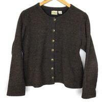 LL Bean Brown Button Down Crew Neck Knit Cardigan Sweater Womens Size Medium M