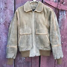 Vtg 70s Western Suede Leather Bomber Jacket Sz M Brown Tan Lined Cowboy Rancher