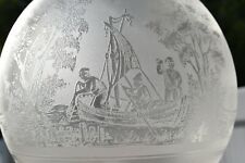 RARE ANTIQUE VICTORIAN ETCHED GLASS GLOBE LAMP SHADE, FISHERMEN ON FISHING BOAT
