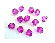 25 Swarovski Crystal Beads # 5328 Xilion Fuschia  6MM