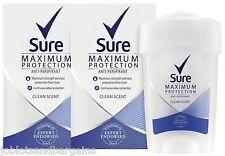 2 x 45ml Sure Maximum Protection 48H Anti-Perspirant Deodorant - Clean Scent
