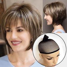 Femmes Court Droit Perruque Naturel Cheveux Cosplay Fête Marron Blonde Bob
