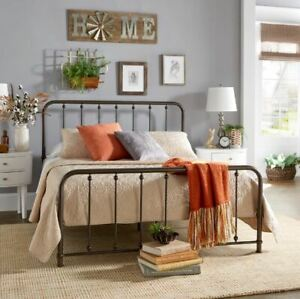 Queen Rustic Metal Bed Frame Vintage Dark Bronze Farmhouse Style Spindle Bed