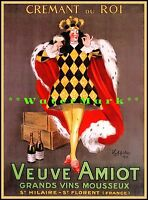 Champagne Crémant Du Roy 1922 French Wine Advertising Vintage Poster Print Art