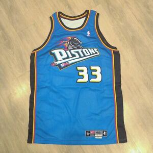 Game Used/Issued Grant Hill Pistons Nike Authentic Blue Jersey size 48 GU/GI nba