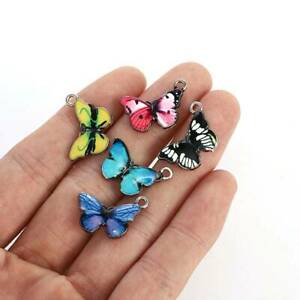 10Pcs/Set Blue Enamel Pendants Cute Butterfly Charm Necklace Earring Jewelry DIY