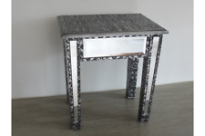 Embossed Side Table Distressed Lamp Stool Silver Black Corner Furniture Unit New