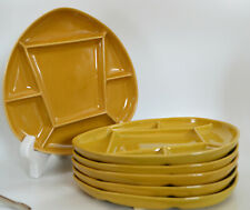 Vintage Sunburst Canada Ceramic Divided Fondue Plates Set of Six