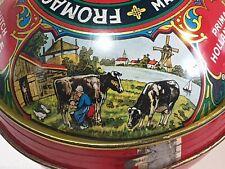 Boite tôle litho fromage hollande vache lait 1900