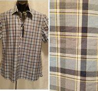 New Perry Ellis Blue White Plaid Short Sleeve Button Up Shirt Men's Size L Large