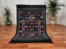Moroccan Black Handmade wool carpet 3'x5' Berber Nomad Sahara Kilim wool Rug N3