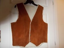 SUEDE LEATHER Western Style  Sherpa Fur Lined Vest Mens SMALL