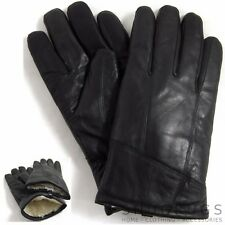 Mens / Gents Soft Premium Leather Winter Gloves with Warm Lambswool Lining