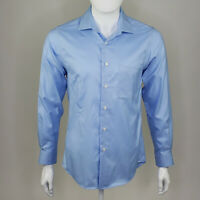 Pronto Uomo Men's Blue Non Iron Slim Fit Button Up Long Sleeve Size 15 32/33