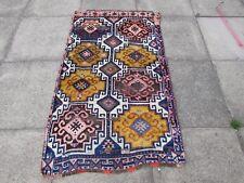 Antiguo Hecho a Mano Tradicional Alfombra Persa 152x91cm Alfombra Oriental Lana Rosa Azul