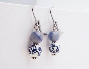 Blue Glass Beaded Earrings (Stainless Steel Hooks) - Free Shipping