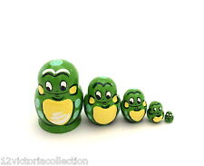 Russian Hand Carved Hand Painted miniature Frog Nesting Doll animal