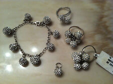 Sterling Silver Crystal Disco Ball Bracelet Ring Size 6/7 Pendant Set 3 Rings