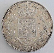 ===>>>  5 Francs 1870 5 Frank  1870 Leopold II Belgique Belgïe <<<===