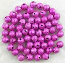 50Pcs 10mm Hot Pink  Acrylic Stardust Metallic Glitter Spacer Loose Beads