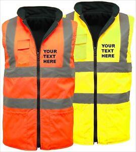 Personalized Hi Vis Visibility Viz Reversible Fleece 2 in 1 Body Warmer Jackets
