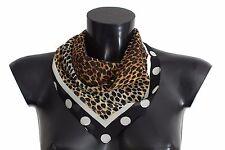 NEW $320 DOLCE & GABBANA Brown Leopard Polka Dotted Silk Scarf Wrap 45cm x 45cm