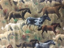 "1 1/2 Yards Horse in the Meadow by James Hautman for VIP 44"" Wide Sage Green"