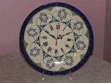"""Polish Pottery UNIKAT 11"""" Plate Wall Clock!  Cyndia Pattern!"""
