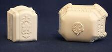 Art Deco Ring Boxes / Cases - White & Ivory Celluloid - Red Velvet & Dunbar