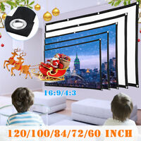 2Pcs Portable Foldable Movie Projector Screen Projection HD Home Theater 4:3