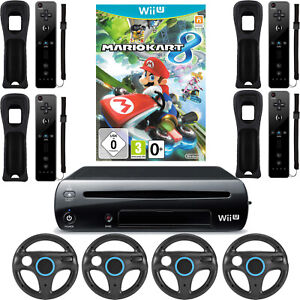 Nintendo Wii U Konsole mit Mario Kart 8 Remote Controller Lenkrad Schwarz