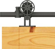DIYHD Top Mount Black Hollow-Out Wheel Sliding Barn Wood Door Track Kit