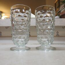 """Indiana Glass Whitehall Cube Clear Iced Tea Footed Glasses 6""""  Set of 2"""