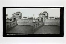 Ile de Ré Porte des Campaniles France Grande plaque stéréo vers 1890