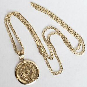 Solid 14k Yellow Gold Aztec Medallion Calendar Pendant Charm 20 Inch