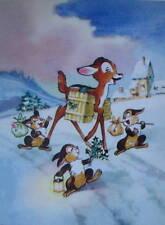 vintage art Disney Christmas Bambi Bunnys in Snow
