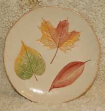 MAJOLICA ART POTTERY - 3 LEAF PLATE - TAN BROWN & GREEN - SEED SOWN CONCORD MASS