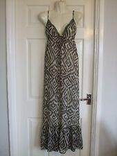 Womens Size 10 Brown Cream Maxi Dress LADIES LONG SUMMER EMBELLISH SMART EVENING