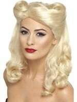 Women's 1940's Sexy Vintage Blonde Pin Up Fancy Dress Wig Victory Rolls Hen Fun