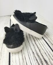 CAT & JACK Black Delmi Fur Bunny Sneakers Toddler Girls size 7
