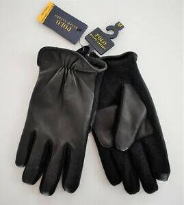 $58 New POLO RALPH LAUREN HYBRID NAPPA Leather TOUCH SCREEN FINGER TIPS Gloves M