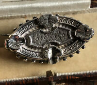 Antique Victorian Silver Flowers Brooch