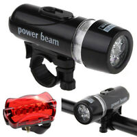 WATERPROOF BRIGHT 5 LED BIKE BICYCLE CYCLE FRONT AND REAR BACK TAIL LIGHT SET