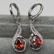 18K White Gold Filled - Ruby 2-Layer Topaz Hollow Waterdrop Cocktail Earrings