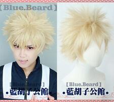 My Hero Academia Bakugou Katsuki Bakugo Light Linen Blonde Cosplay Hair Wig +Cap