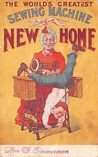 NEW HOME SEWING MACHINE ADVERTISING COMIC POSTCARD (c. 1910)
