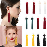 Women Fashion Bohemian Earrings Boho Hook Drop Dangle Long Tassel Fringe Earring