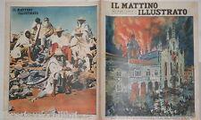 1935 Cupola della cattedrale di Como in preda alle fiamme Guerra Etiopia Negus
